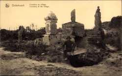 Ak Dickebusch Westflandern Belgien, Cimetiere du village, Friedhof, Totengräber
