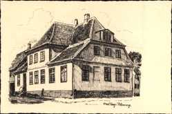 Künstler Ak Petersen, Chr. Tom, Blick auf ein Wohnhaus