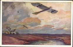 Künstler Ak Schulze, Hans Rudolf,Militärtaube auf Erkundungsflug,Masurische Seen