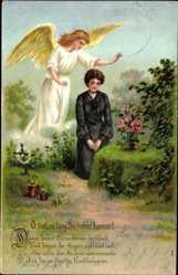 Postcard O lieb', so lang' Du lieben kannst, Frau trauert am Grab, Schutzengel