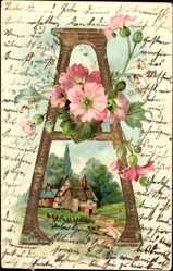 Präge Buchstaben Ak A, Kitsch, Frühlingsidylle, Bauernhaus