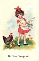 Postcard Glückwunsch Ostern, Mädchen mit Ostereiern, Küken, Huhn
