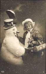 Postcard Glückwunsch Neujahr, Mädchen mit Puppe und Schneemann, EAS