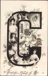 Buchstaben Ak Vorname Clara, Frauenportraits, Blüten, GL Co 848