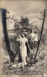 Buchstaben Ak W, Frau mit Kindern, Flöte, Landschaft, NPG 195