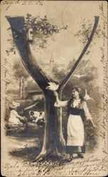 Buchstaben Ak Y, Frau mit Tauben auf der Hand, Bernhardiner, Chaussures Bally
