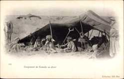 Ak Campement de Nomades au desert, Nomadenzelt, Pferd