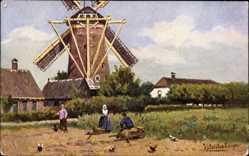 Künstler Ak Gerstenhauer, Niederlande, Männer und Frau in Trachten vor Windmühle
