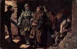 Künstler Ak Thumann, Reformator Martin Luther, Ankunft auf der Wartburg, 1521