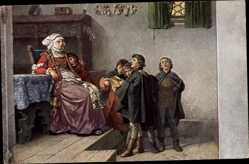 Künstler Ak Pauwels, F., Wartburg, Luther singt als Currende Schüler