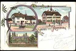 Litho Bad Homburg vor der Höhe, Schloss Maupeou, Wirtschaft z. Sternen