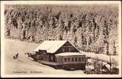 Ak Eulengebirge Schlesien, Blick auf die Eulenbaude im Winter, Wald
