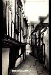 Postcard Shrewsbury West Midlands England, Grope Lane, Fachwerkhäuser