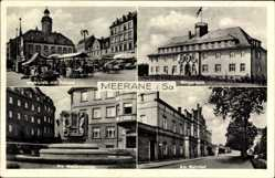 Postcard Meerane Sachsen, Bürgerheim, Marktplatz, Weberbrunnen, Bahnhof, Rathaus