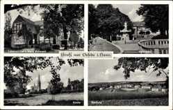 Postcard Oesede Georgsmarienhütte, Lebensmittelladen, Kirche, Siedlung, Marktplatz