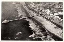 Postcard Scheveningen Den Haag Südholland, Fliegeraufnahme, Strand und Seebrücke
