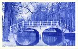 Postcard Delft Südholland Niederlande, Koornmarkt, Brücke, Herbst