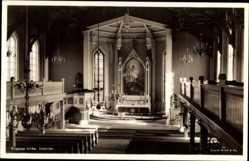 Postcard Tromsø Norwegen, Kirke, Interior, Innenansicht der Kirche, Altar