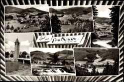 Postcard Saalhausen Lennestadt im Sauerland im Kreis Olpe, Kirche, Totale, Wehr