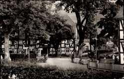Postcard Oberkirchen Schmallenberg im Sauerland, Gasthof Anton Schütte, Fachwerkhaus