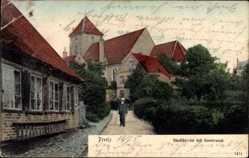 Postcard Preetz in Schleswig Holstein, Blick in die Seestraße und zur Stadtkirche