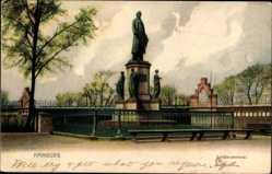 Postcard Hamburg, Straßenpartie mit Blick auf das Schillerdenkmal