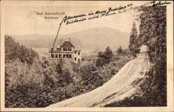 Postcard Bad Salzdetfurth in Niedersachsen, Straßenpartie mit Blick auf Waldhaus