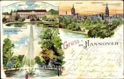 Litho Hannover in Niedersachsen, Altstadt, Friedrichswall, Fontäne, Schloss