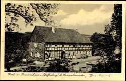 Postcard Großalmerode im Werra Meißner Kreis, Gasthaus Pfaffenberg, Laster