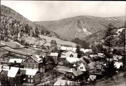 Postcard Rohrbach bei Saalfeld, Gesamtansicht im Winter, Schnee. Berge