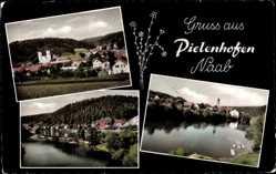 Postcard Pielenhofen in Bayern, Partie an der Naab, Gesamtansicht