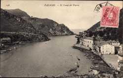 Postcard Pasages Baskenland Spanien, El Canal del Puerto, Blick auf den Ort, Berge