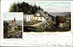 Ak Kłodzko Glatz Schlesien, T. Schindlers Gasthaus Maria Schnee, Kirche
