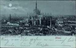 Mondschein Ak Milano Mailand Lombardia, Totalansicht, Kathedrale