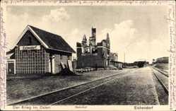 Ak Dąbrówka Eichendorf Ostpreußen, Bahnhof, Krieg im Osten