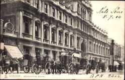 Postcard London England, Burlington House, Financial News, horse carriages