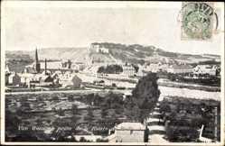 Postcard Givet Ardennes, Vue generale prise de la Route de Heer, Kirchturm
