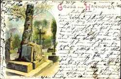 Litho Hannover Niedersachsen, Blick auf das geöffnete Grab, Kreuze, Friedhof