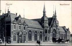 Postcard Münster in Westfalen, Blick auf den Hauptbahnhof, Seitenansicht, Kutsche
