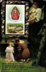Postcard Marienthal Geisenheim, Betende Mädchen, Schrein, Heiligenbild, Engel