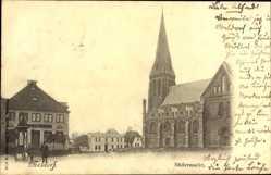 Postcard Meldorf, Blick auf den Südermarkt, Kirche, Passanten, Gebäude
