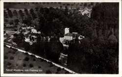 Postcard Gailingen am Hochrhein, Fliegeraufnahme, Stadtansicht, Schloss Rheinberg