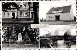 Postcard Wendisch Hermsdorf Münchehofe, Gasthaus Ernst Hahn, Schule, Kriegerdenkmal