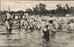 Postcard Bad Düben an der Mulde Sachsen, Familienbad, Kinder im Wasser