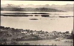 Postcard Molde Norwegen, Panorama, Ort mit Wasserblick zum Fjord