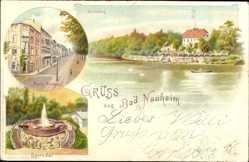 Litho Bad Nauheim im Wetteraukreis Hessen, Teichhaus, Park Straße, Sprudel