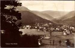 Postcard Tabarz im Thüringer Wald, Blick auf den Ort, Berge, Wald, Felder