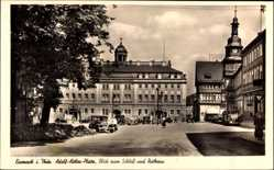 Postcard Lutherstadt Eisenach in Thüringen, Platz mit Blick zum Schloss und Rathaus