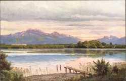 Künstler Ak Reschreiter, Gemeinde Chiemsee, Blick auf die Herreninsel, Gebirge