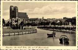 Postcard Prenzlau in der Uckermark, Uferpartie mit Blick auf die St. Marienkirche